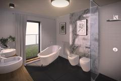 BATHROOM (HOUSES ON GRASSLAND) | project: Studio Projektowe Jakub Gałęski (www.galeski.com.pl)